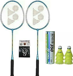 Yonex GR 303 Badminton Racquet (Pack of 2) + Mavis 300 Nylon Shuttle Cock - Yellow (Pack of 6) with SportsHouse Cotton Wri...