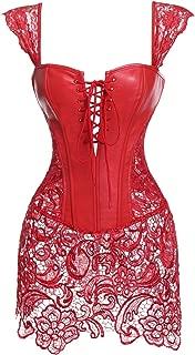 Women Steampunk Faux Leather Bustier Sexy Dress Corset Top Zip Plus Size