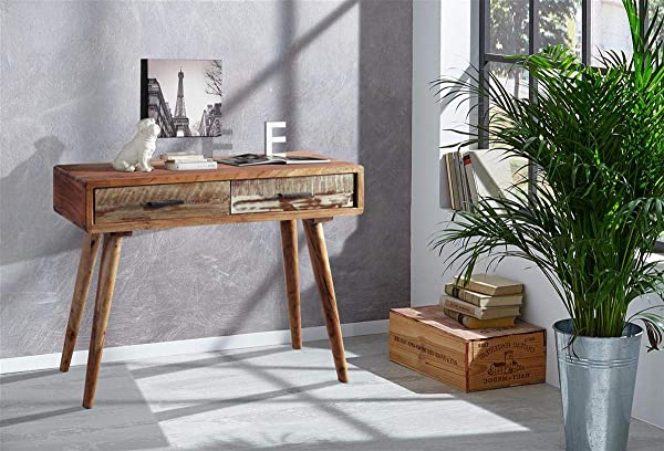 Designer Wooden Console With 2 Drawers Made From Natural Acacia Wood