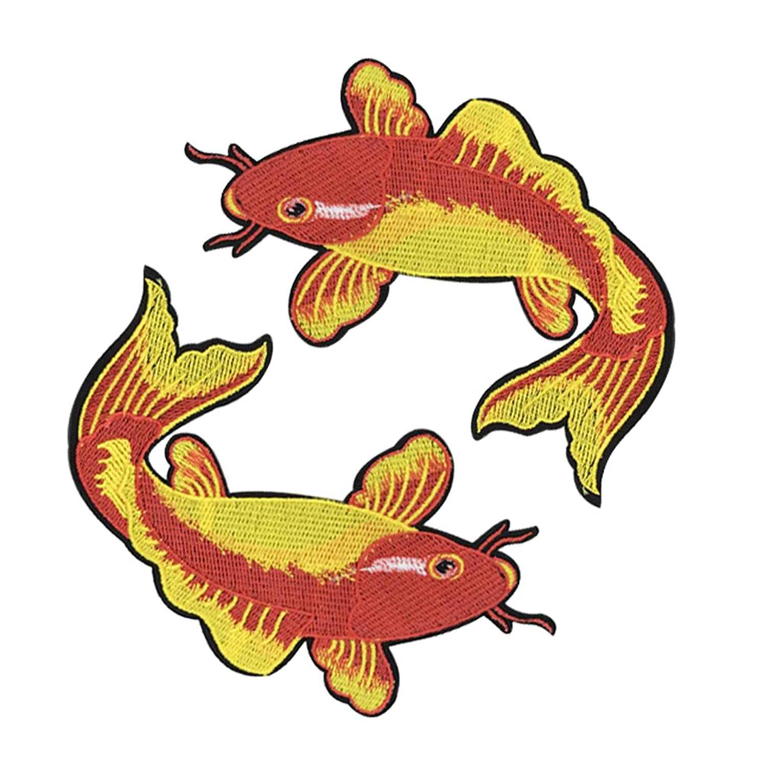 XUNHUI Red Carp Fish Embroidered Patches for Clothes Iron Sewing on Garment Applique DIY Accessories Animal 2 Pieces