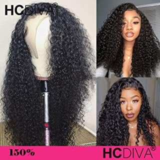 360 Lace Frontal Wig Mongolian Afro Kinky Curly 150% Density Human Remy Hair Thick End Full Wig Bleached Knots With Pre Plucked HCDIVA Human Hair (20inch, 360curly)