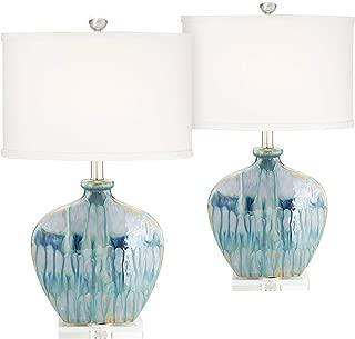Mia Coastal Table Lamps Set of 2 Ceramic Blue Drip Off White Oval Shade for Living Room Family Bedroom Office - Possini Euro Design