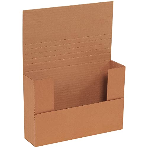 Boxes Fast BFM962BFK Corrugated Cardboard Easy-Fold Mailers, 9 1/2 x 6 1/2 x 2 Inches, Fold Over Mailers, Adjustable Die-Cut Shipping Boxes, Multi-Depth, Medium Kraft Mailing Boxes (Pack of 50)