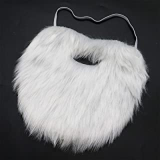 AQUEENLY White Beard Costume Soft Fake Beards for Kids Adults Disguise Santa Claus