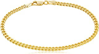 Solid 14K Yellow Gold Miami Cuban 3.2mm Link Chain Bracelet | Mid-Weight Width Polished Finish | 7 to 8½