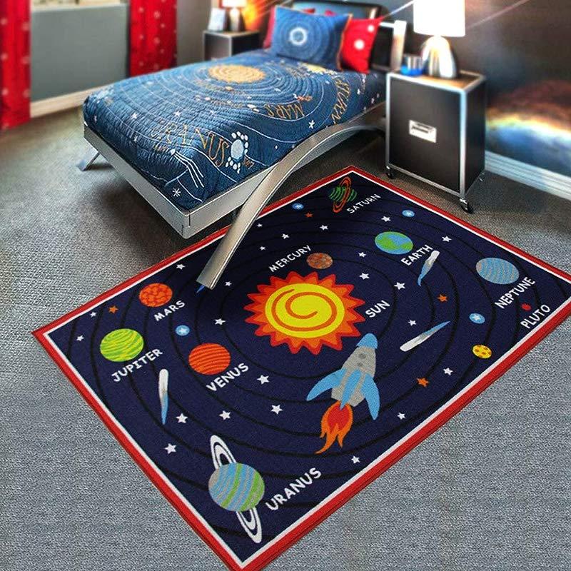 HUAHOO Kids Rug Educational Learning Carpet Galaxy Planets Stars Blue Children S Fun Area Rug Nursery Rugs Solar System Rectangle Rug Solar System 39 X51