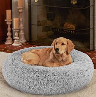 Ompaa Fluffy Round Orthopedic Dog Beds for Small, Medium Dogs and Cats, Super Soft Plush Calming Pet Beds Washable, Puppy ...