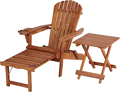 W Home SW2005WN-CL1ET1 Chair with Table Adirondack Chaise Lounge, Walnut