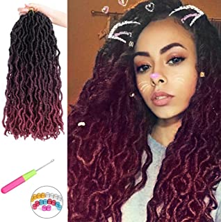 6 Packs Per Lot Curly Faux Locs Crochet Dreadlocks Hair Goddess Ombre Bug Soft Nu Locs Synthetic Hair Extensions for Braiding 18 Inches 18 Strands Per Pack