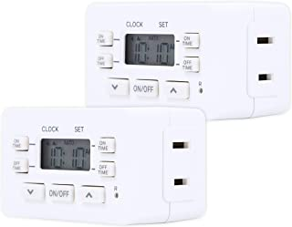 Honeywell Indoor Digital Plug-in Bar Timer 2-Pack, 1 Polarized Outlet, 2 ON/Off Options, 24-Hour Cycle, Override Switch, Ideal for Lamps, Seasonal Lighting, Small Appliances, LED, 45959, 2 Pack, White