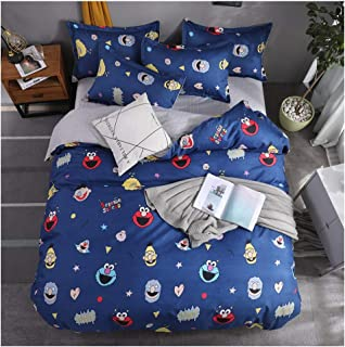 ORIHOME Bedding Set Twin/Full/Queen/King Cartoon Anime Printing– 3/4 Piece Bedding Sets – Teen Bedding for Chirldren Bedroom (Without Quilts) ZL (Sesame Street 3,Blue, Full,71''x87'')