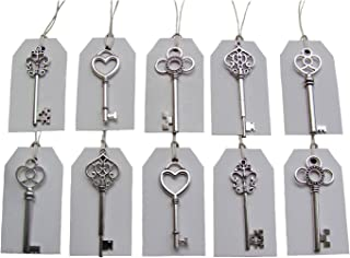 SL crafts Mixed 100pcs Antique Silver Skeleton Keys & 100 pcs White Tags Key Charms Pendants Wedding favor 53mm-68mm