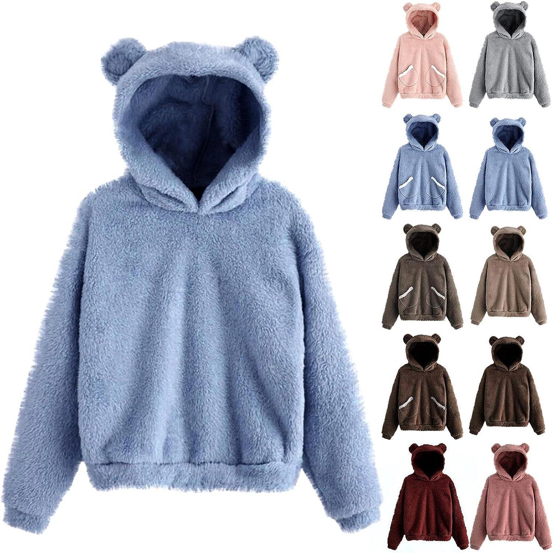 Womens Fleece Hoodies, Teen Girls Cute Hoodie with Bear Ears Win