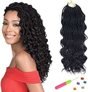VRHOT 6Packs 18'' Wavy Senegalese Twist Crochet Hair Braids Wavy Ends Free Synthetic Hair Extensions Braiding Hair Havana Mombo Dreadlocks 1B 18 inch 35strands/pack (18'' (6packs/lot), 1B#)