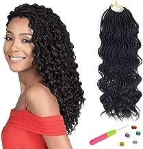 VRHOT 6Packs 18'' Wavy Senegalese Twist Crochet Hair Braids Wavy Ends Free Synthetic Hair Extensions Braiding Hair Havana Mombo Dreadlocks 1B 18 inch 35strands/pack (18'' (6packs/lot), 1B#)