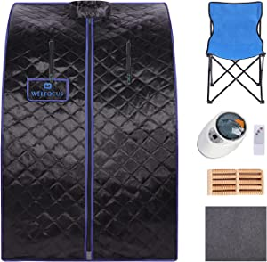 Portable Folding Steam Sauna for home, Personal Sauna Tent with 2L Steam Pot, Fast Heating in 5 Min with Folding Chair, Remote Control for Relaxation, 60 Min, 140?, 1000W (31.1x35.4x40.5in Black)