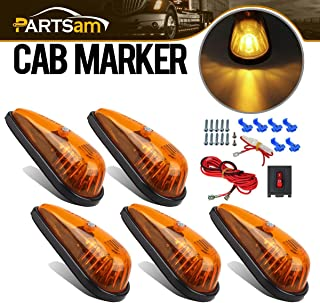Partsam Amber Teardrop Marker Light 5pcs Front Rear Top-Mounted Cab Roof Light with Wiring Pack for Trucks, Vans, Pickups, semis and RVs