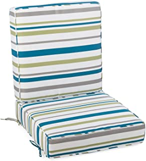 Home Improvements Blue Green Gray White Striped Outdoor Patio Chair Deep Seat Cushion Set Hinged …