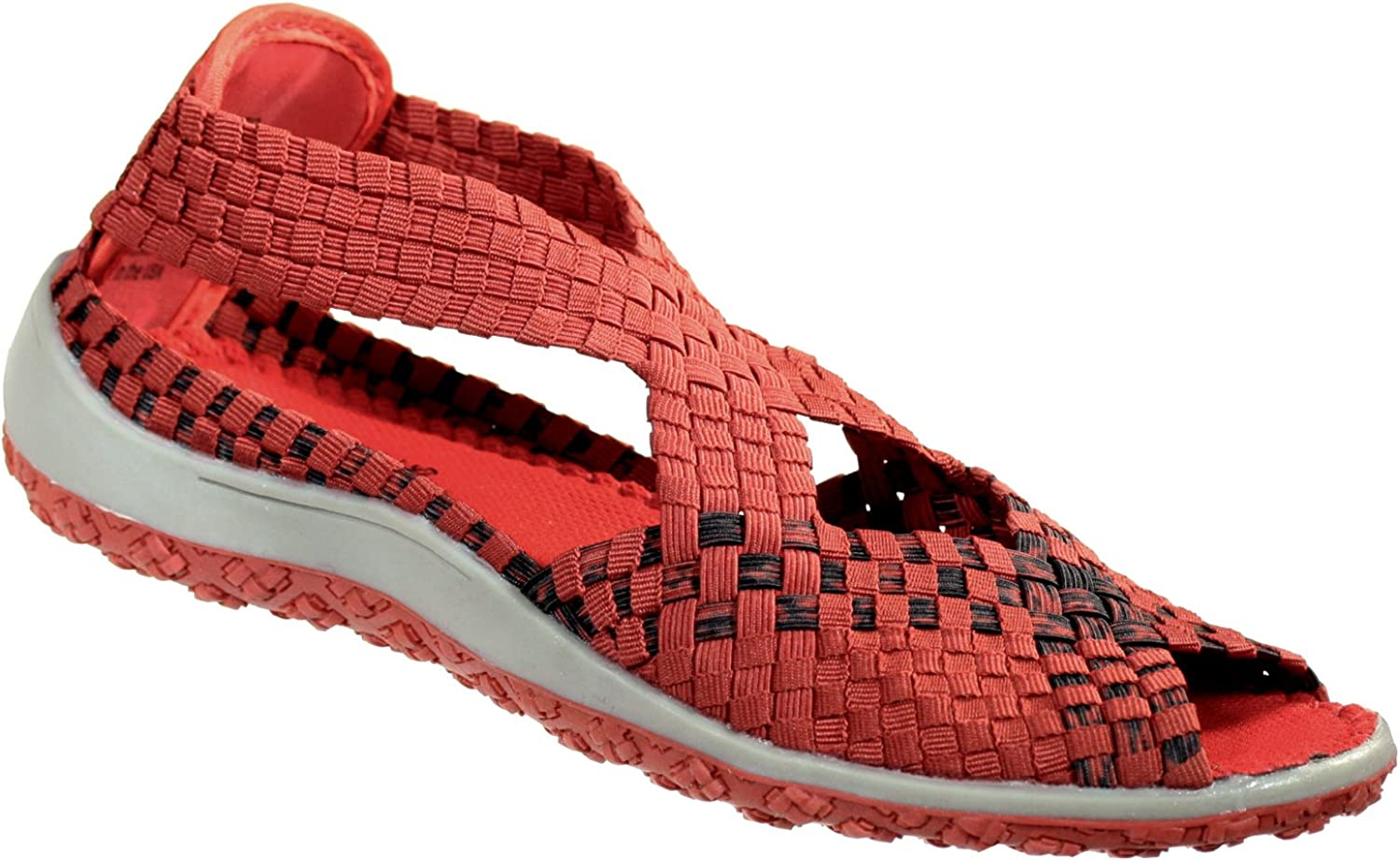 Zee Alexis Women's Saletto Woven Sandal Red Black