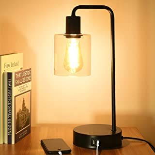 Touch Control Table Lamp with 2 USB Ports, 3 Way Dimmable Vintage Nightstand Desk Lamp, Clear Glass Shade Bedside Lamp for...
