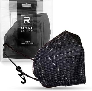 RMOVE FFP2 zwart wegwerpmasker professionele bescherming, elastieken comfortabel CE-gecertificeerd voor volwassenen met ha...