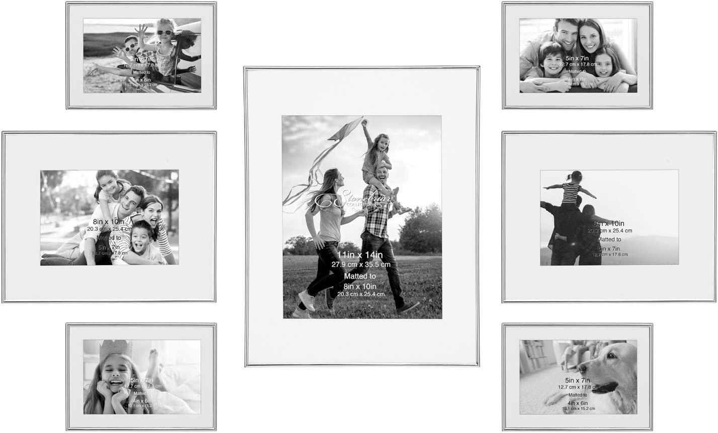 Stonebriar Decorative Limited Special Price Silver Steel 7 Mail order Set Piece Photo Wall Frame