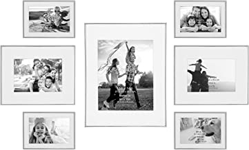 Stonebriar Decorative Silver Steel 7 Piece Photo Frame Set, Wall Hanging Display, Modern Gallery Wall Set