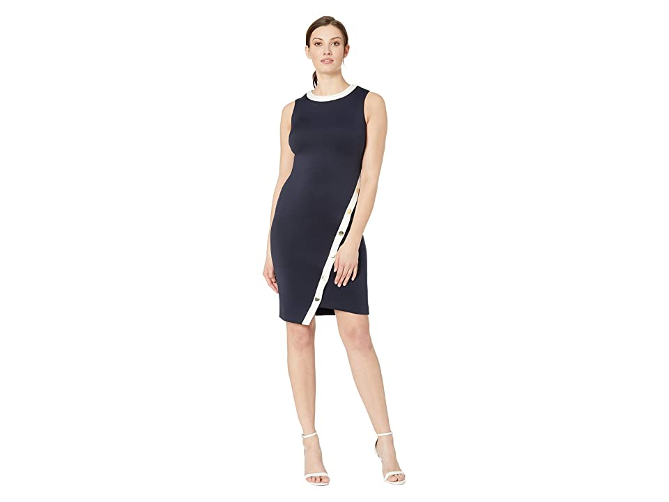 Tommy Hilfiger Scuba Asymmetrical Snap Dress (Sky Captain/Ivory) Women