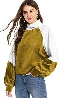 Women's Causal Sweatshirt Colorblock Velvet Lantern Long Sleeve High Neck Pullover Tops
