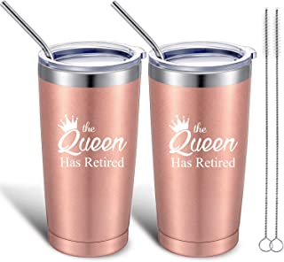 2 Pack The Queen Has Retired Travel Cups, Funny Retirement Gifts for Women, 20 oz Insulated Stainless Steel Mug Tumbler with Lid and Straw Gift for Retiring Grandma Coworkers Teachers Nurses