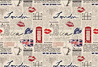 5x3ft Nostalgia Old Newspaper Background Vintage London Elements Photography Backdrop Retro British Style Red Telephone Booth Tea Cup England Flag Elegant Lady Gentleman Studio Vinyl Props