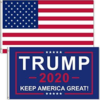 ZYTJ 1 Pack American USA Polyester Flag and 1 Pack Donald Trump for President 2020 Keep America Great with Brass Grommets,...