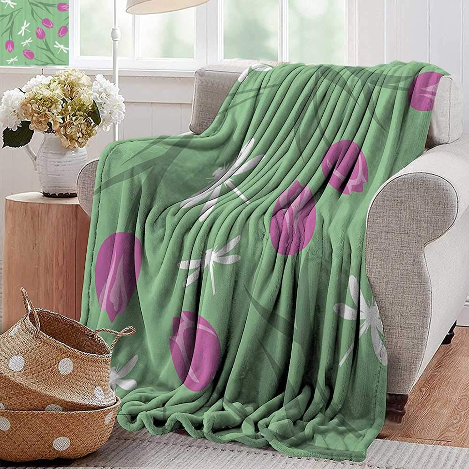 PearlRolan Weighted Blanket,Country Decor,Tulips and Dragonflies Flower Silhouettes Old English Pastel Stylized Pattern Graphic,Green Pink,Indoor Outdoor, Comfortable for All Seasons 50 x60