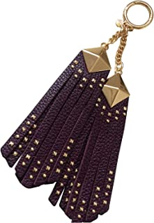 Pyramid Studded Leather Tassel Bag Purse Key Chain Fob