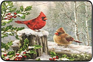 Christmas Winter Cardinal Door Mats Red Bird Holly Berry Branches Snow Floor Mat Indoor Outdoor Entrance Bathroom Doormat Non Slip Washable Welcome Mats Xmas Decor 23.6 x 15.7 inch