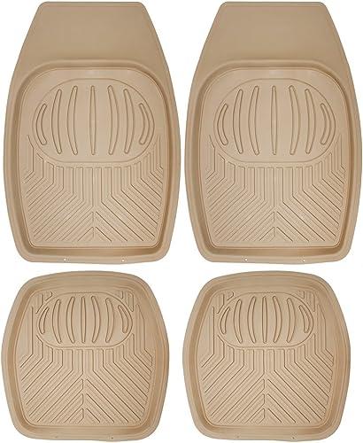 wholesale OxGord Pan-Tech All-Weather 2021 Rubber online sale Floor-Mats - Waterproof Protector for Spills, Dog, Pets, Car, SUV, Minivan, Truck - 4-Piece Set, Brown sale