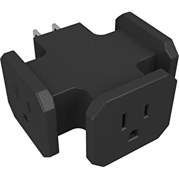 Stanley 30309 Heavy Duty Triangle Tap, Grounded 3-Outlet Adapter, Black