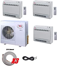 YMGI Three Zone - 36000 BTU Three 3 Zone 9000+9000+18000 Floor Mount Ductless Mini Split Air Conditioner with Heat Pump with 25 Ft Lineset Installation Kits