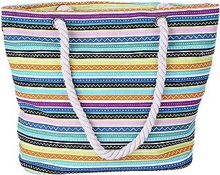 Fanspack Women Handbag Large Capacity Casual Top Handle Bag Strap Stripe Top Handle Bag