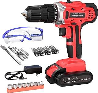 GardenJoy Cordless Power Drill Set: 21V Electric Driver Tool Kit with 24+1 High Torque 2 Variable Speed 3/8'' Keyless Chuc...