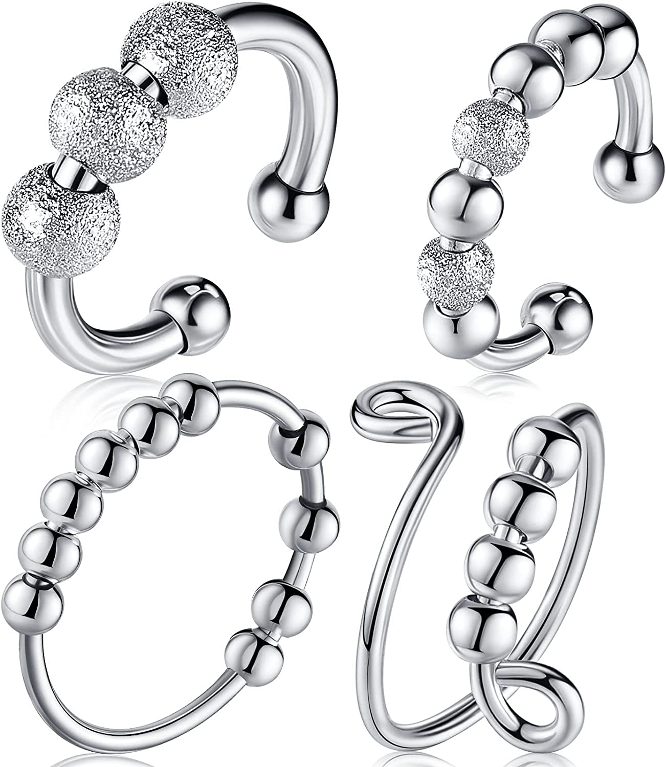 MTLEE 4 Pieces Anxiety Ring Spinner Rotatable Finger Ring with B