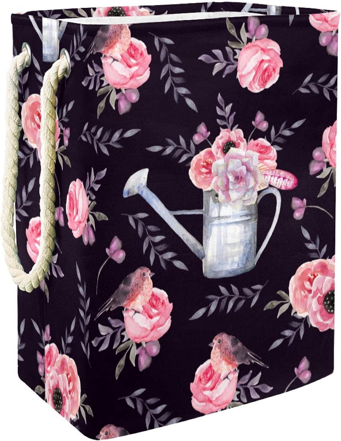 Painted Max 40% OFF Pink Flowers Pattern Black With Laundry Large Ranking TOP11 Eas Hamper