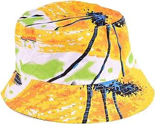 6b7c6a3446c Fashion Packable Reversible Black Printed Fisherman Bucket Sun Hat