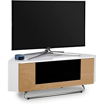 Centurion Supports Hampshire - Mueble de TV con pantalla plana de 26 a 50 pulgadas, color blanco brillante con contraste de roble: Amazon.es: Electrónica