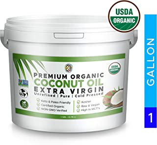 Premium Pure Unrefined Extra Virgin Organic Coconut Oil | Cold Pressed | NON-GMO | 1 Gallon Bulk | Cooking | Baking | Smoothies | Skin & Hair Care | Gluten-Free and Vegan | Keto & Paleo Friendly