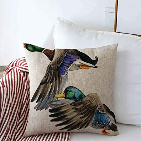 Amazon Com Staroden Throw Pillows Cover 18 X 18 Inches Brown Bird Wild Duck Mallard Watercolor Hunting Animals Wildlife Colorful Flying Water Autumn Beak Cushion Case Cotton Linen For Fall Home Decor Home