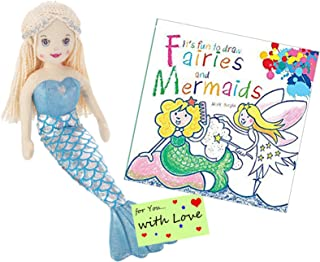 Ganz Drawing Set: It's Fun to Draw Fairies and Mermaids w Stuffed Mermaid Doll Cascade with Blonde Hair for Young Girls who Want to Learn How to Draw Fairies and How to Draw Mermerids with a Friend