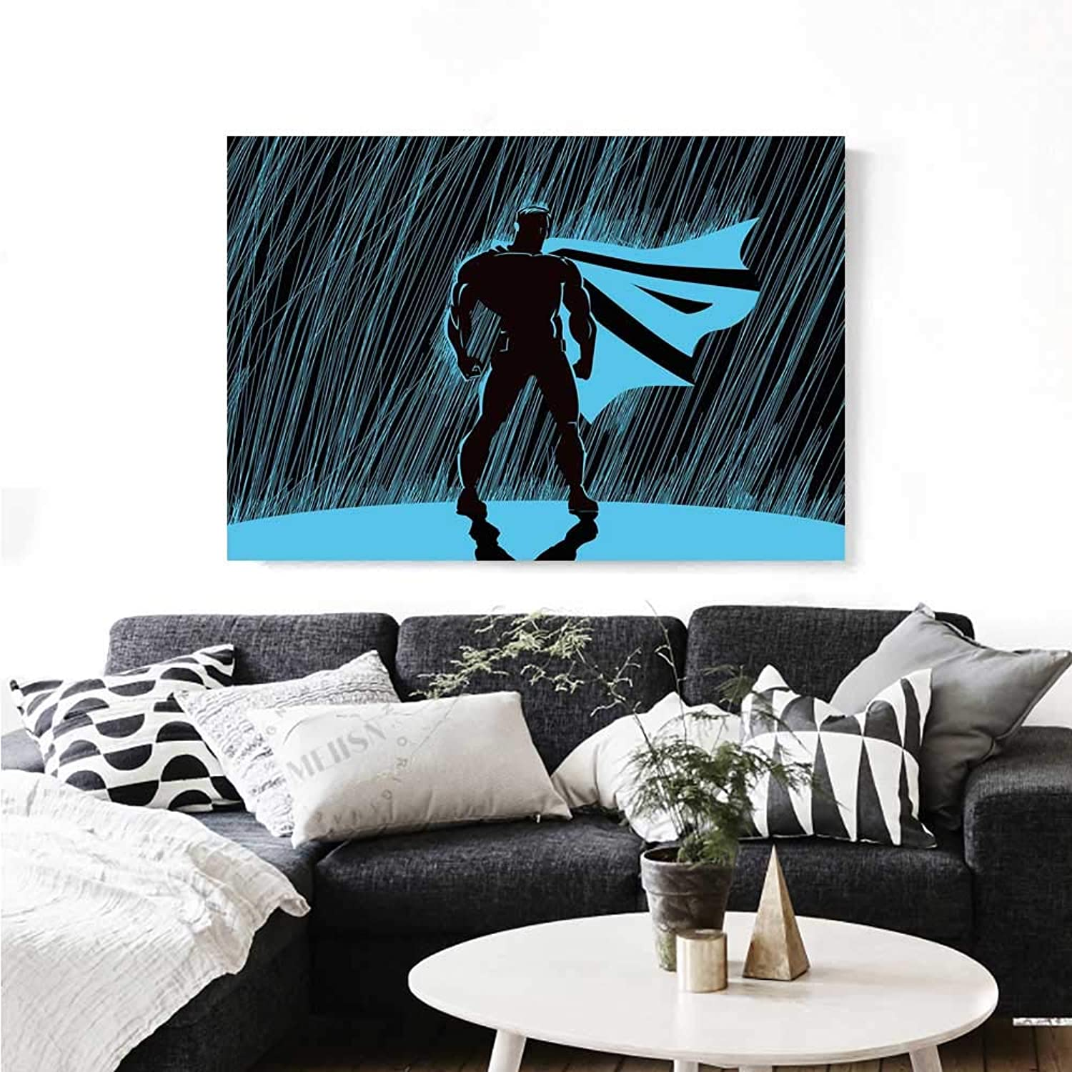 Warm Family Superhero Canvas Wall Art for Bedroom Home Decorations Hero in Rain at Night Dramatic Super Defender Macho Pride Neon Male Illustration Wall Stickers 36 x32  bluee Black