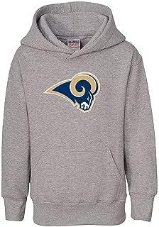 Reebok Los Angeles Rams NFL Boys Youth 8-20 Gray Primary Logo Pullover Fleece Hoodie Sweatshirt