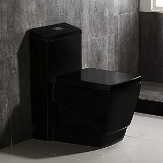 Woodbridge B0921 Dual Flush Elongated One Piece Toilet, Square Design,Black Color
